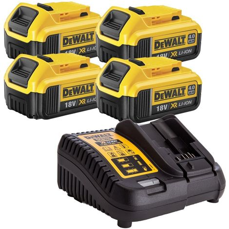 DeWalt DCB182X4 18v 4.0Ah Batteryr Pack of 4 + DCB115 10.8V-18V Charge:18V