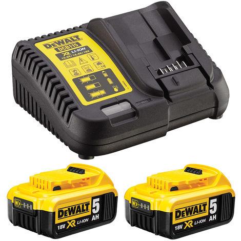DeWalt DCB184 2 x 5.0Ah Batteries & DCB115 10.8-18V Multi Voltage Charger