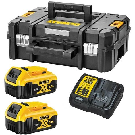 Dewalt DCB184 5.0ah 18v XR Lithium Battery Twin Pack + DCB115 Charger Tstak Case