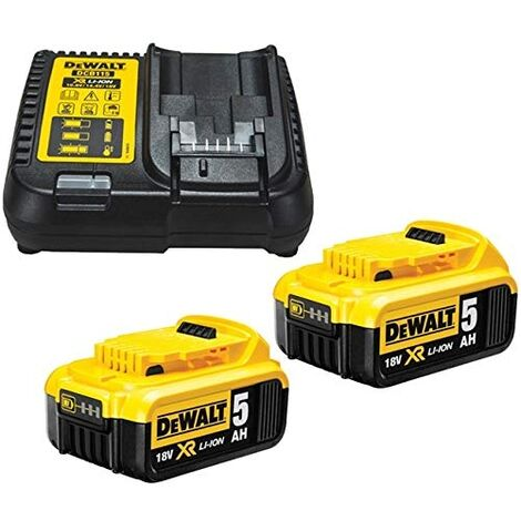 Dewalt DCB184 5.0ah 18v XR Lithium Ion Li-Ion Battery Twin Pack with DCB115 Charger