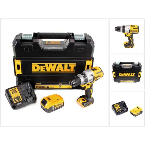 DeWalt DCD 991 P1 18 V Brushless Li-Ion Perceuse visseuse sans fil avec boîtier TSTAK II + 1x Batterie DCB 184 5,0 Ah + Chargeur DCB 115 XR