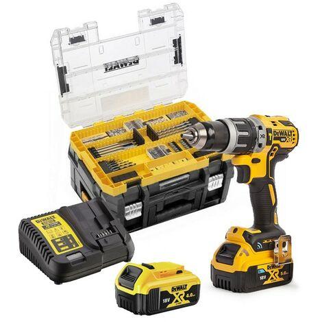 Dewalt DCD709M2 18v XR Brushless Combi Hammer Drill Tstak - 2x 4.0ah + 85 Pc Set