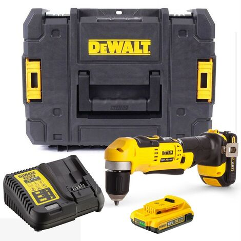 Dewalt DCD740D2 18v XR 2 Speed Right Angle Drill Lithium -2 Battery Charger Case