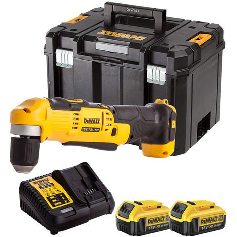 Dewalt DCD740N 18V Right Angle Drill with 2 x 4.0Ah Batteries & Charger in TSTAK:18V