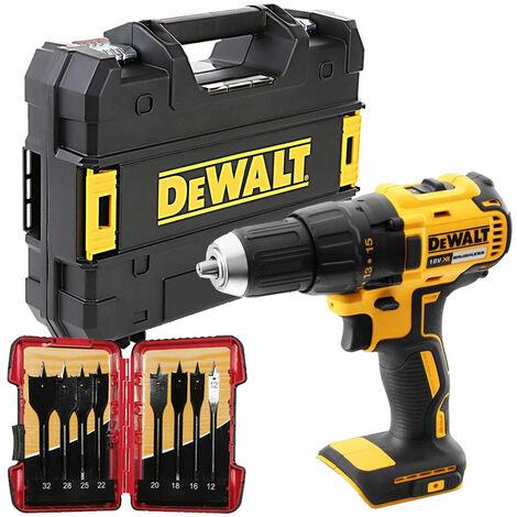 Dewalt DCD777N 18V Brushless Combi Drill & 8 Piece Flat Drill Bit Set in Tstak