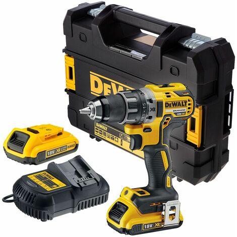 DeWalt DCD791D2 18V Li-Ion batería Taladro atornillador compacto set (con 2x 2.0Ah baterías) en TSTAK - sin escobillas