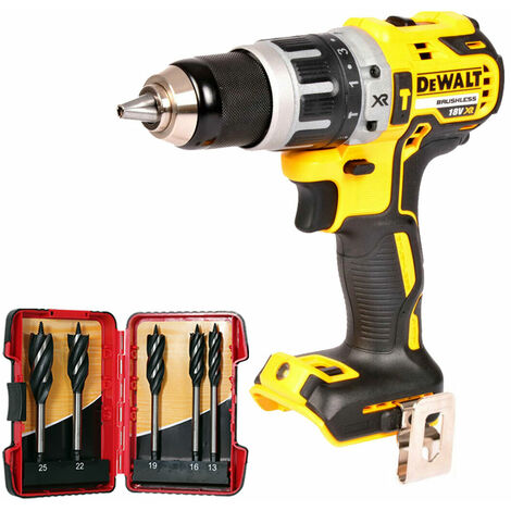 DeWalt DCD795N 18V Brushless Combi Hammer Drill with 5 Piece Auger Drill Bit Set