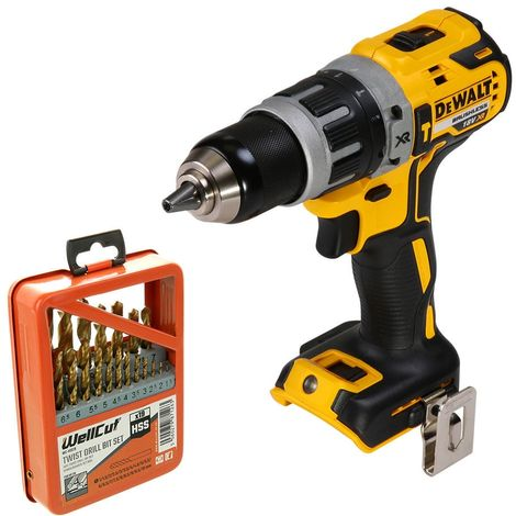 DeWalt DCD796 18V XR Brushless Combi Drill With 19 Piece HSS Twist Drill Bit Set