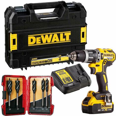 Dewalt DCD796M1 18V Brushless Combi Drill 1 x 4.0Ah & 5 Piece Auger Drill Bit Set:18V