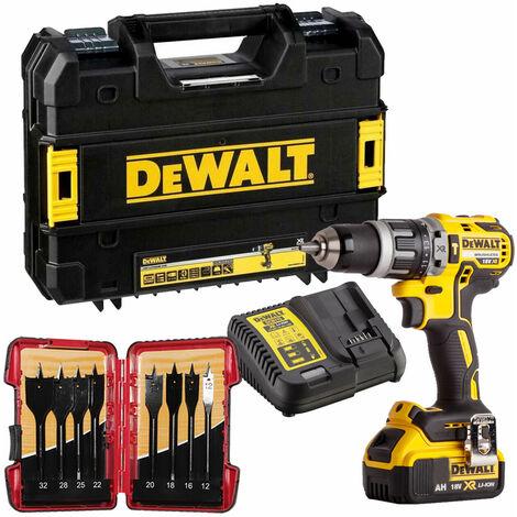 Dewalt DCD796M1 18V Brushless Combi Drill 1 x 4.0Ah & 8 Piece Flat Drill Bit Set:18V