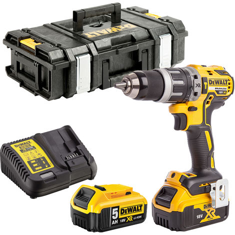 Dewalt DCD796N 18V Brushless Combi Drill 2 x 5.0Ah Batteries Charger & Tool Box:18V
