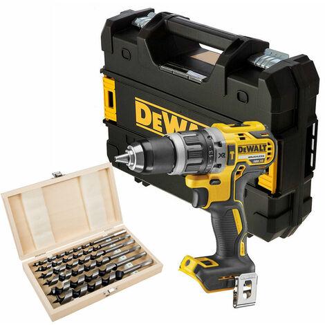 DeWalt DCD796N 18V Brushless Combi Hammer Drill + 6 Piece Auger Bit Set in Tstak