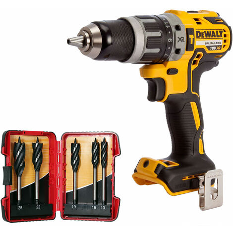 DeWalt DCD796N 18V Brushless Combi Hammer Drill with 5 Piece Auger Drill Bit Set