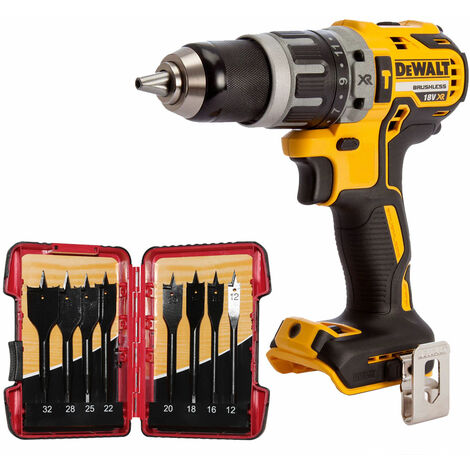 DeWalt DCD796N 18V Brushless Combi Hammer Drill with 8 Piece Flat Drill Bit Set