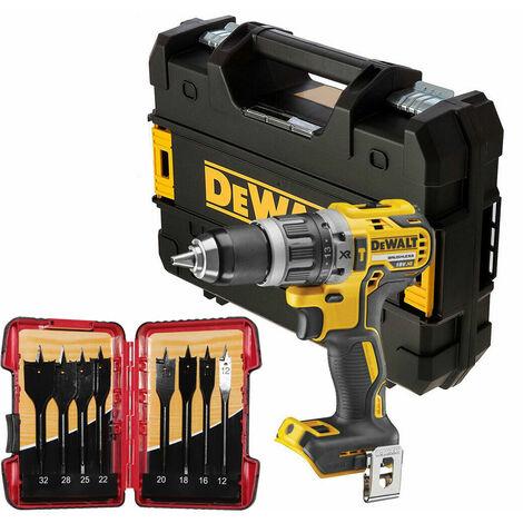 DeWalt DCD796N 18V Brushless Combi Hammer Drill with 8 Piece Flat Drill Bit Set