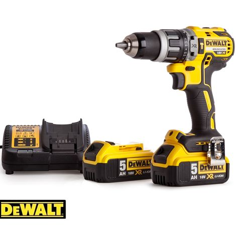 Dewalt DCD796N 18v XR Brushless Compact Combi Drill With 2 x 5.0Ah Batteries & Charger