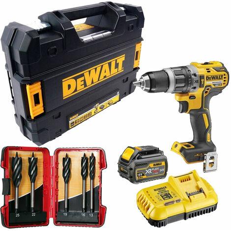 Dewalt DCD796T1T 18V Brushless Combi Drill 1 x 6.0Ah & 5 Piece Auger Drill Bit Set:18V