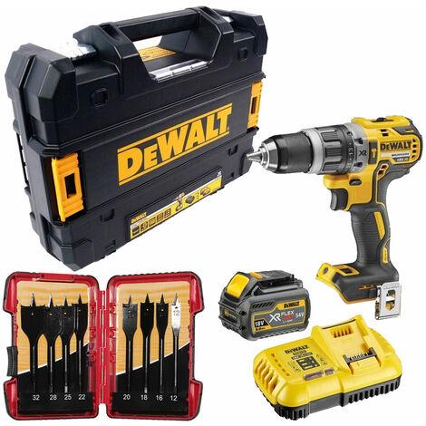 Dewalt DCD796T1T 18V Brushless Combi Drill 1 x 6.0Ah & 8 Piece Flat Drill Bit Set:18V