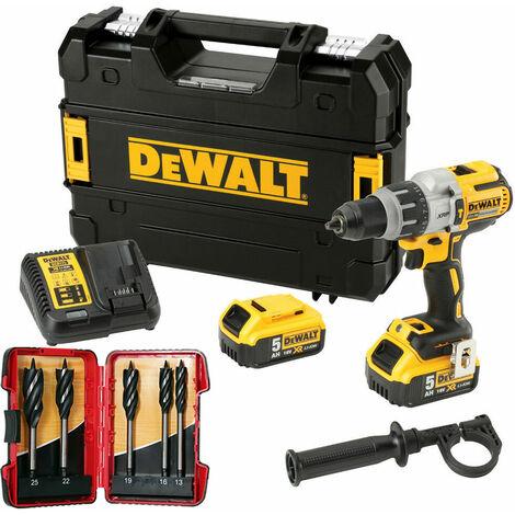 Dewalt DCD996P2 18V Brushless Combi Drill 2 x 5.0Ah & 5 Piece Auger Drill Bit Set