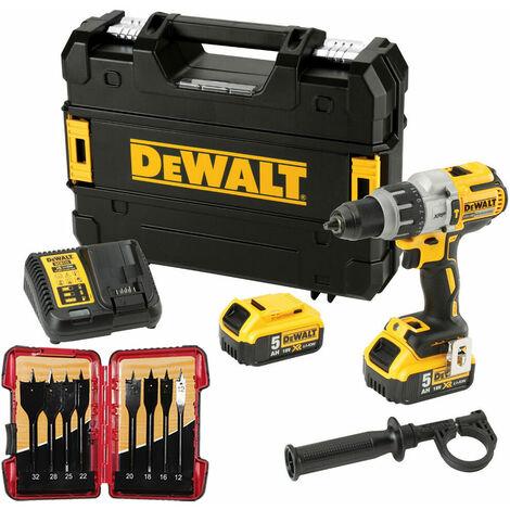 Dewalt DCD996P2 18V Brushless Combi Drill 2 x 5.0Ah & 8 Piece Flat Drill Bit Set