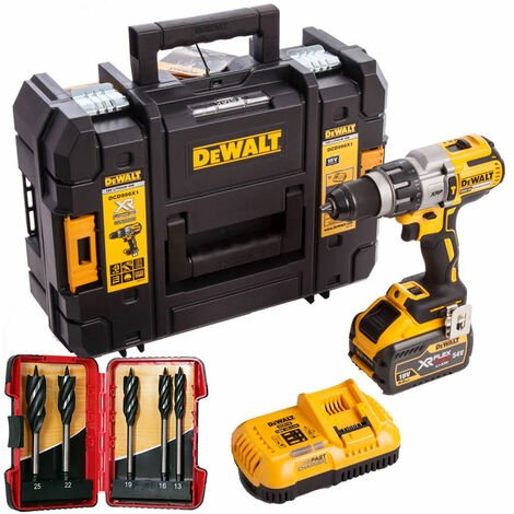 DeWalt DCD996X1 18V Brushless Combi Drill 9.0Ah Battery & 5 Piece Auger Drill Bit Set