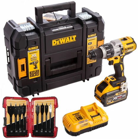 DeWalt DCD996X1 18V Brushless Combi Drill 9.0Ah Battery & 8 Piece Flat Drill Bit Set