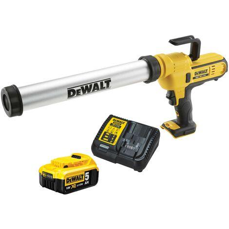 Dewalt DCE580 18v Lithium-Ion Caulking Gun 600ml - Includes 1 x 5.0ah Battery