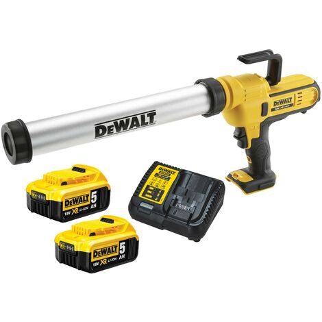 Dewalt DCE580 18v Lithium-Ion Caulking Gun 600ml - Includes 2 x 5.0ah Batteries
