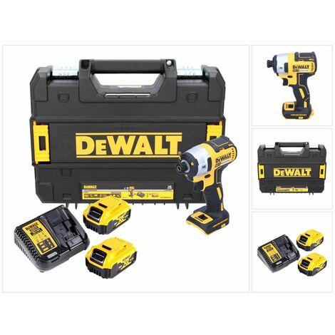 """DeWalt DCF 887 P2 Visseuse à Chocs sans fil 18 V brushless avec Mandrin de 1/4"""" + Boîtier TStak + 2x Batteries 5 Ah + Chargeur DCB 115"""