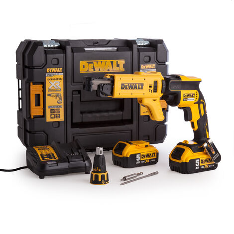 DeWalt DCF620P2K 18V Brushless Collated Drywall Screwdriver with 2 x 5.0Ah Battery & Charger in Case