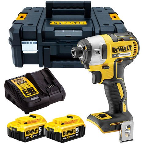 Dewalt DCF887N 18V Brushless Impact Driver with 2 x 5.0Ah Batteries & Charger in TSTAK
