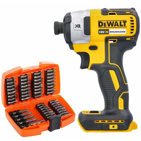 Dewalt DCF887N 18V XR Brushless Impact Driver With 53 Piece Screwdriver Bit Set