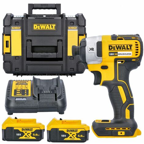 Dewalt DCF887N 18V XR Impact Driver With 2 x 5.0Ah Batteries, Charger & T-Stack Case