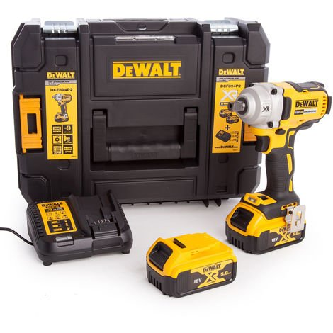 DeWalt DCF894P2 18V XR Brushless 1/2in Impact Wrench with 2 x 5.0Ah Batteries & Charger In TSTAK:18V