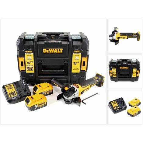 DeWalt DCG 405 P2 18 V 125 mm Meuleuse sans fil Brushless avec boîtier TStak + 2x Batteries 5 Ah + Chargeur