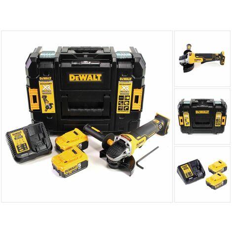 DeWalt DCG 406 P2 18 V Meuleuse d'angle sans fil 125 mm Brushless + 2x Batteries 5 Ah + Chargeur + Coffret de transport TStak