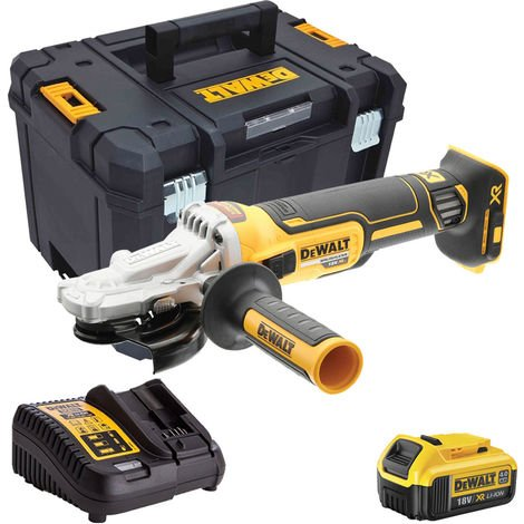 Dewalt DCG405FN 18V Brushless 125mm Angle Grinder with 1 x 4.0Ah Battery Charger & Case:18V