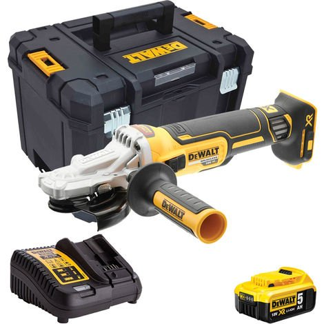 Dewalt DCG405FN 18V Brushless 125mm Angle Grinder with 1 x 5.0Ah Battery & Charger in Case:18V