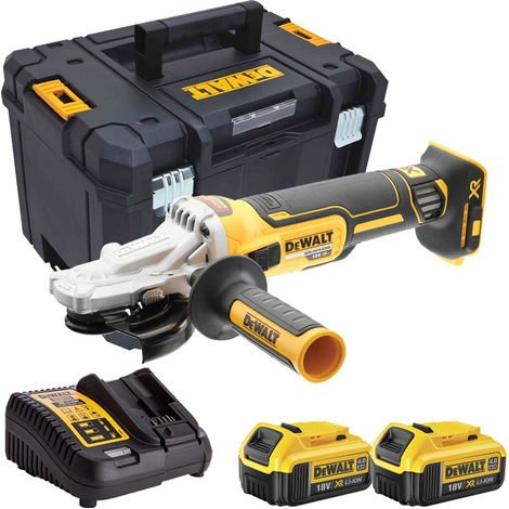 Dewalt DCG405FN 18V Brushless 125mm Angle Grinder with 2 x 4.0Ah Batteries & Charger in Case:18V