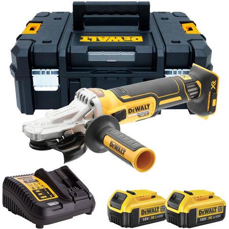 Dewalt DCG405FN 18V Brushless 125mm Angle Grinder with 2 x 4.0Ah Batteries & Charger in Tstak:18V
