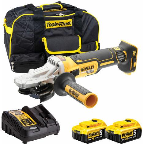 Dewalt DCG405FN 18V Brushless 125mm Angle Grinder with 2 x 5.0Ah Batteries & Charger in Case