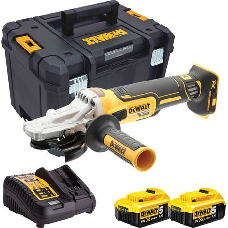 Dewalt DCG405FN 18V Brushless 125mm Angle Grinder with 2 x 5.0Ah Batteries & Charger in Case:18V