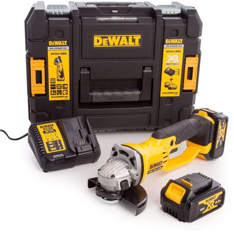 Dewalt DCG412M2 Premium 18V XR 125mm Angle Grinder With 2 x 4.0Ah Battery Charger:18V