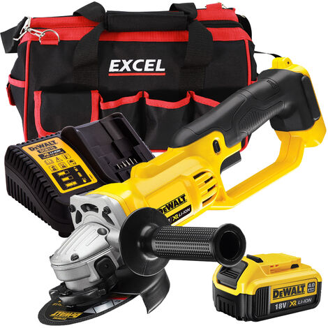 DeWalt DCG412N 18V 125mm Angle Grinder with 1 x 4.0Ah Battery Charger & Bag