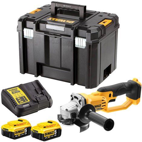 DeWalt DCG412N 18V 125mm Angle Grinder with 2 x 5.0Ah Batteries & Charger in Case