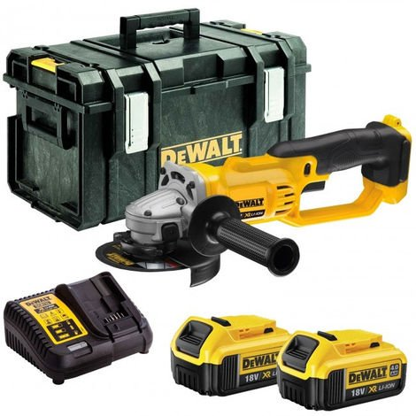 DeWalt DCG412N 18V Li-ion 125mm Angle Grinder with 2 x 4.0Ah Batteries & Charger in Tool Box:18V