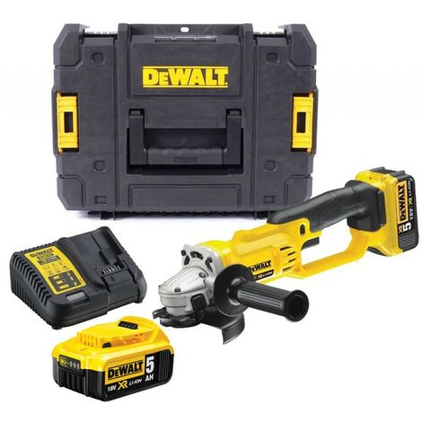Dewalt DCG412P2 18v XR Cordless Angle Grinder 125mm + 2 x 5ah Battery Tstak Case
