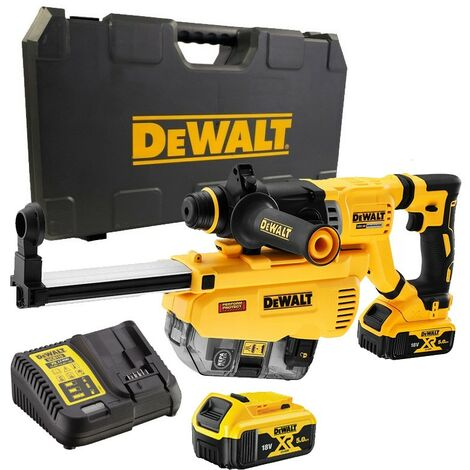 Dewalt DCH263P2 18v Brushless SDS Hammer Drill 3 Mode 2x 5.0ah + Dust Extractor