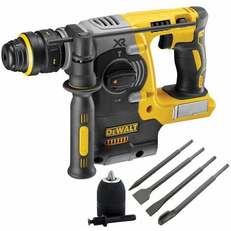 Dewalt DCH273N 18V Brushless Hammer Drill & 4 Piece Chisel Set + Keyless Chuck