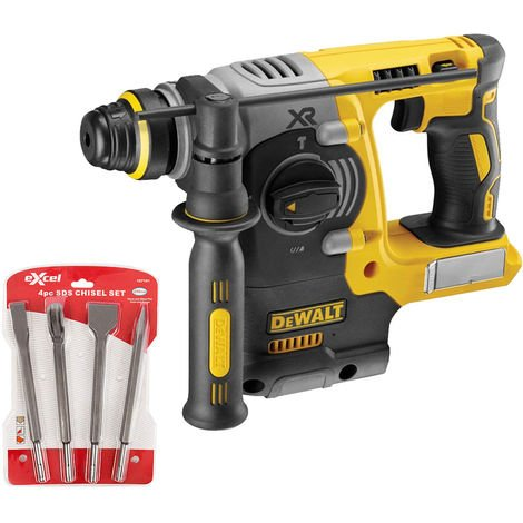 Dewalt DCH273N 18V Brushless SDS+ Hammer Drill With 4 Piece Chisel Set:18V